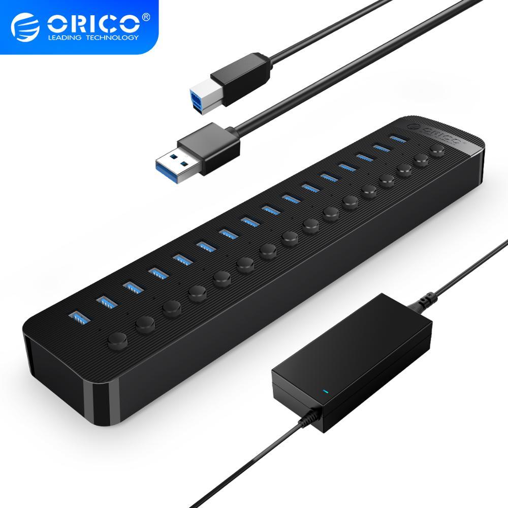 ORICO 16 Порты Мощность ed USB 3,0 концентратор BC1.2 Зарядное устройство USB разветвитель с индивидуальным вкл/выкл кнопка и 12V/6.5A Мощность адаптер для...