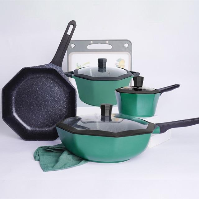 Cooking Frying Pans Kitchen Set Nonstick Bottom Round Cookware Egg Pans Dining Bar Ollas De Cocina Kitchen Supplies DF50PDG