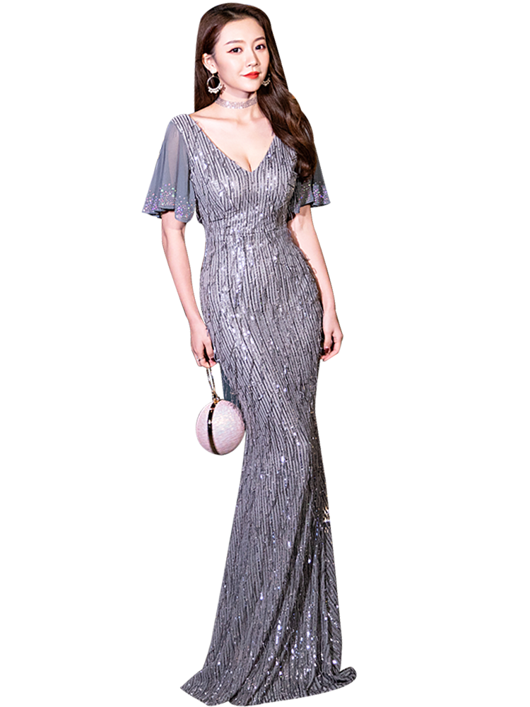 Silver Gray Polyester Silk Evening Dress 2020 Queen Annual Conference Sequin Dresses Prom Long Mermaid Gown Vestidos De Gala