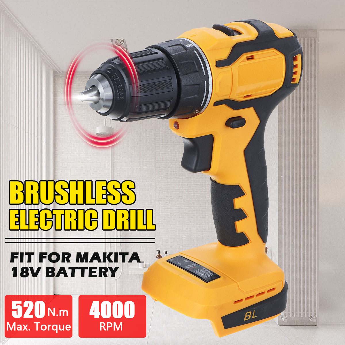 18V 3 in 1 Brushless Electric Hammer Drill Electric Screwdriver 10mm Torque Cordless Impact Drill for Makita Battery