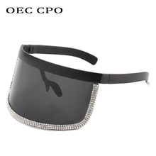 Women Goggle Crystal Sunglasses Women Oversized Rhinestone Sun Glasses Men Brand