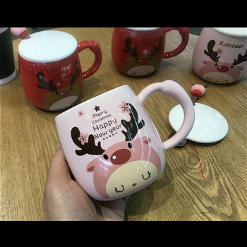 350ml Christmas Elk Mugs Exquisite Ceramic Coffee Mug With Lid Spoon,Christmas Gifts Couple Mugs For Girls/Boys Friends 1