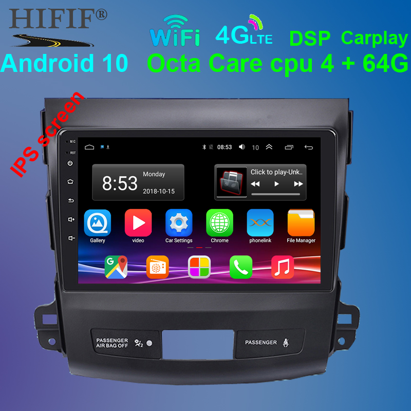 android 10 car dvd gps multimedia player radio For <font><b>Mitsubishi</b></font> <font><b>Outlander</b></font> 2006-2014 Peugeot 4007/Citroen C-Crosser 2.5D image