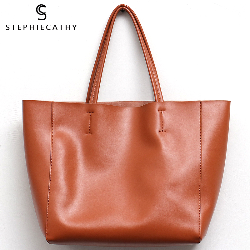 SC Luxury Brand Cow Leather Tote Bags Designer Cowhide Handbags Women Shoulder Bags Fashion Female Large