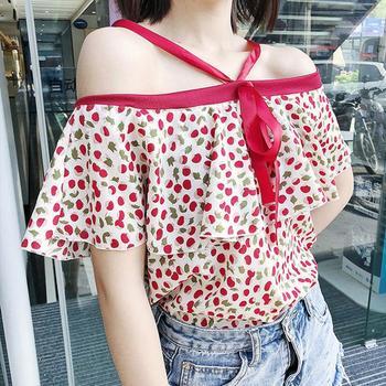 MISSKY damska bluzka szyfonowa koszulka drukowana letnia bluzka z odkrytymi ramionami damska bluzka z krótkim rękawem bluzki damskie nowość tanie i dobre opinie Poliester REGULAR Slash neck NONE Drukuj PBY_0OVR Na co dzień