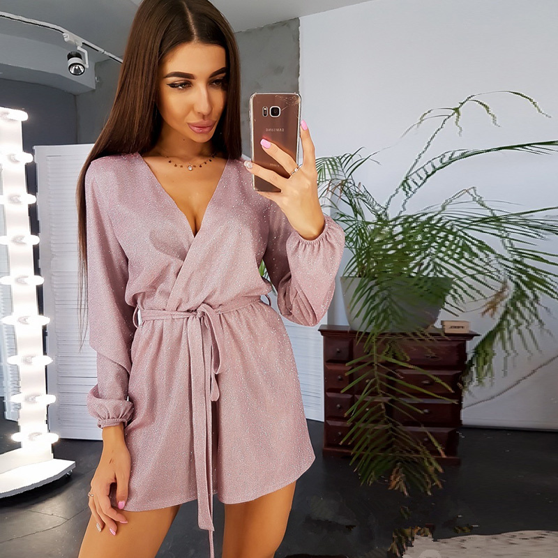 Women Sexy V Neck Sashes Gold Wire Jumpsuit Ladies Long Sleeve Solid Casual Romper 2020 Spring Fashion Women Streetwear Shorts