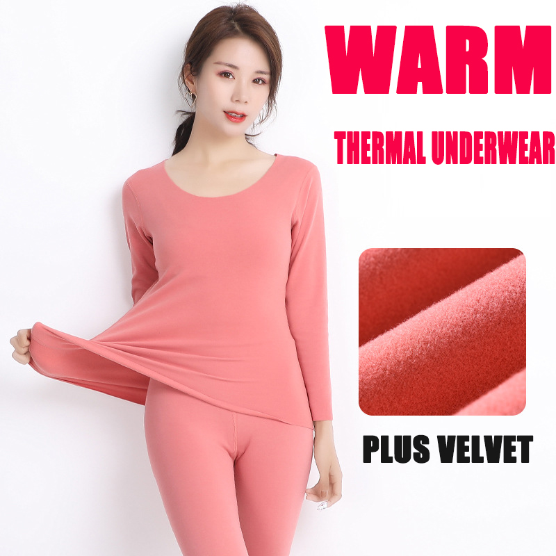 Plus Velvet Seamless Long Sleeve T-shirt+pants 2 Pieces Thermal Underwear Sets Women Thicken Warm Winter Slim Long Johns Suits
