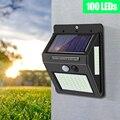 Светодиодный светильник с датчиком движения, на солнечной батарее, 100 светодиодов