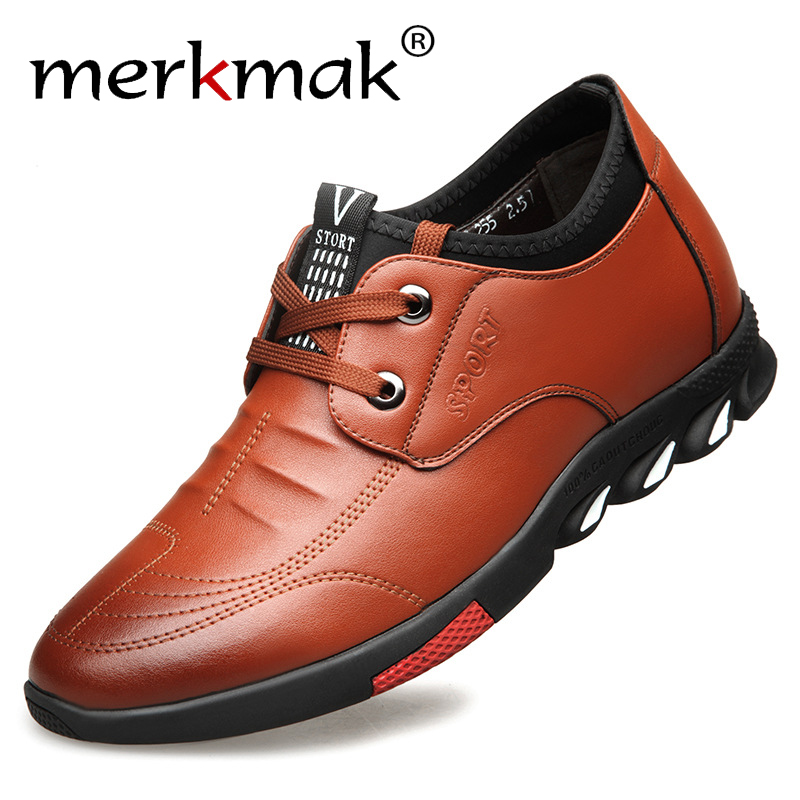 Merkmak Leather Men Leather Casual Shoes Classic Lace-up Business Flats Fashion British Style Increasing Shoes Big Size