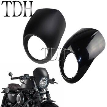 цена на Motorbike Cafe Racer 5 3/4 Headlight Fairing For Harley Sportster Touring Dyna Softail XL XR FX 5.75 Front Light Mask Cowl