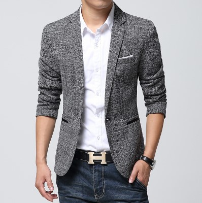 New Arrival 2019 Autumn Slim Blazer In Men Single Button Gray Mens Suit Jacket Casual Blazer High Quality Cotton Suit