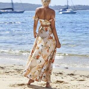 Image 2 - TEELYNN off shoulder maxi dresses sexy Side split boho dress floral print summer Dresses beach Gypsy women dress Vestidos