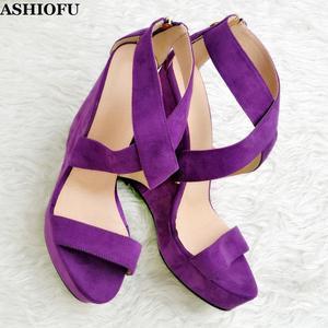 ASHIOFU новые женские сандалии ручной работы на каблуке, вечерние туфли в стиле X, летние туфли для выпускного вечера, замшевые Вечерние Сандали...