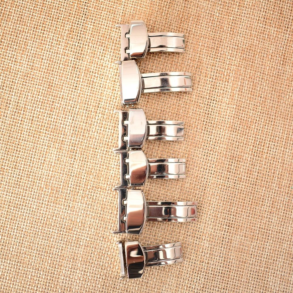 Stainless Steel Solid Double Push Button Fold Watch Buckle Butterfly Deployment Clasp Watch Strap 14mm 16mm 18mm 20mm