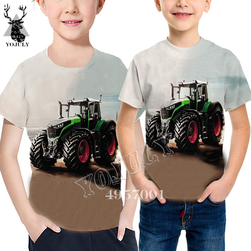 Novelty Streetwear Child T Shirt Tractor Truck 3D Print Harajuku T-Shirt Baby Fashion Casual Short Sleeve Boy Girl Clothing Y672
