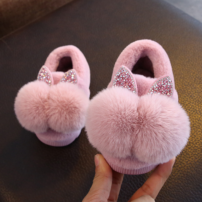 Kids Girls Girls Slippers Cartoon Fox Girls Home Shoes For Children Winter Indoor Bedroom Slippers Warm Velvet Baby Boots