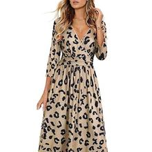 40% Dropshipping!Women Dress Solid Color All Match Loose Hem Leopard Print Lady Dress for Work