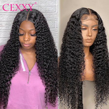 CEXXY Wet And Wavy Curly Human Hair Wigs For Women 13X4 HD Transparent Lace Frontal Wigs Deep Wave Lace Closure Wigs Pre Plucked