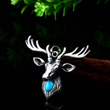 stainless steel double layer round necklace punk link chain circle pendant necklace hip hop women men fashion gothic jewelry Punk Titanium Turquoise Deer King Warrior Gothic Pendant Man Necklace Stainless Steel Chain Rock Hip Hop Necklace Jewelry Gift