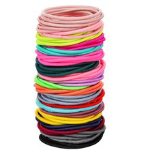 New 100PCS/Lot Girls Candy Colors Nylon Rubber Bands Children Safe Elastic Hair Bands Ponytail Holder Kids Hair Accessories 1119(China)