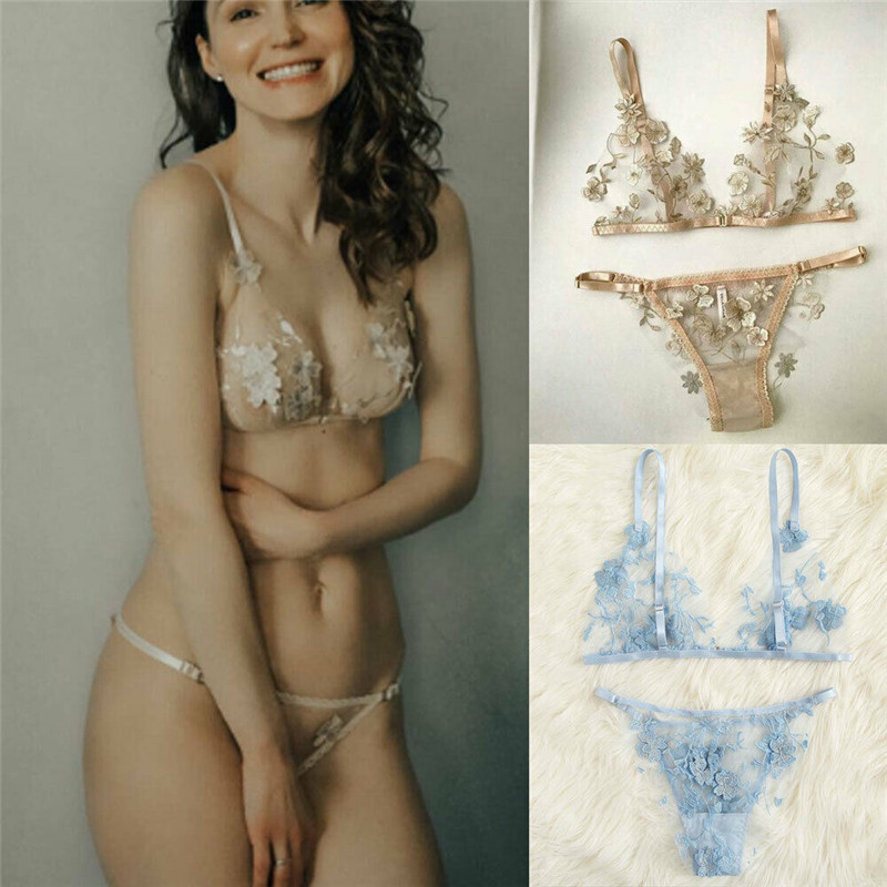 Embroidery Women Sesy  Bra Brief Sets Lace Floral Bralette Bra Bustier Women's Intimates Sheer G-String Transparent Underwear