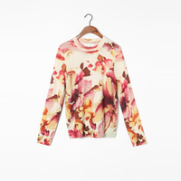 Bogeda 100 Cashmere Sweater Women Round Neck Gold Print Floral Pullovers Natural Fabric Soft Warm High Quality Free Shipping