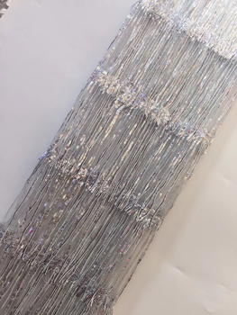 Silver French African Lace Fabric Guipure Sequined Cotton Cord Tulle Nigerian Tissu Mesh India Lace for Wedding Dress ZX30752