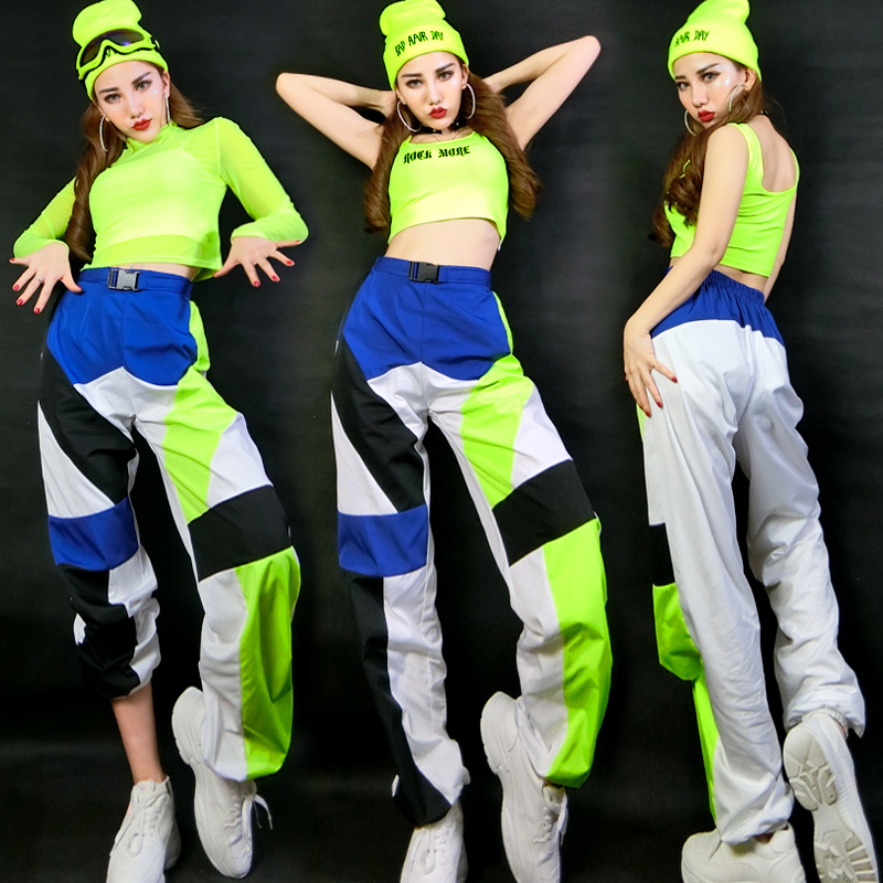 Hip Hop Costumes Ladies Fluorescent Green Top Pants Nightclub Street Dance Clothing Bar Singer Dj Ds Modern Stage Wear DNV12423