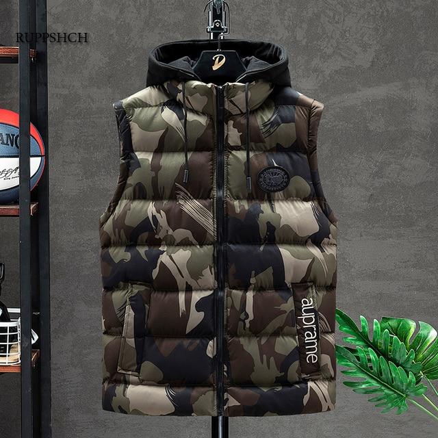 Padded Insulated Sleeveless Camo Vest Jacket Mediumweight