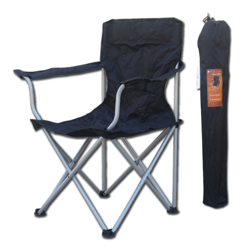 Outdoor Folding Chair Steel Chaise Oxford Fiber Armchair With Cup Holder Portable & Heavy Duty For Fishing Camping Hicking