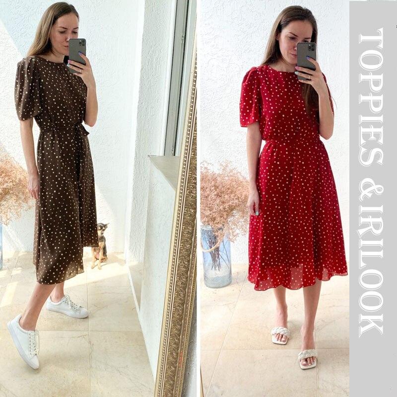 toppies summer white polka dot chiffon dress womens midi dress short sleeve slim waist vestidos mujer 2020