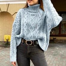 Женский свитер с длинным рукавом летучая мышь и высоким воротником