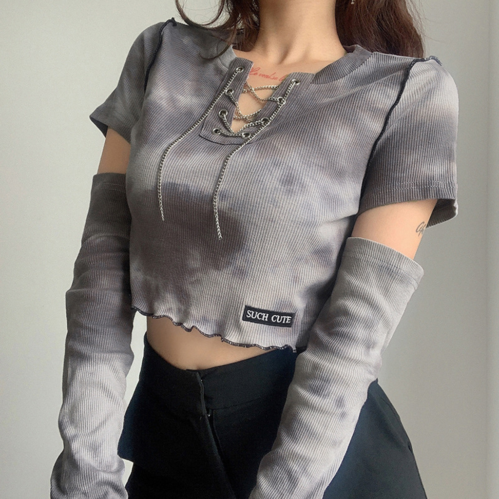 Casual Shirt Women Spring Summer Cloth Crop Tops Femme Vintage y2k Short Sleeve Cotton Tie Dye Print Streetwear Camiseta Mujer