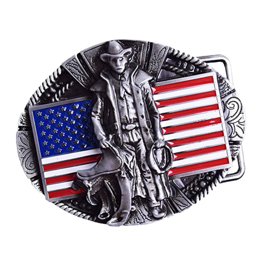 Vintage Belt Buckle With America Flag Design,western American Excavator Opeartor Belt Buckle For Cowboy,men's Belt Ornament
