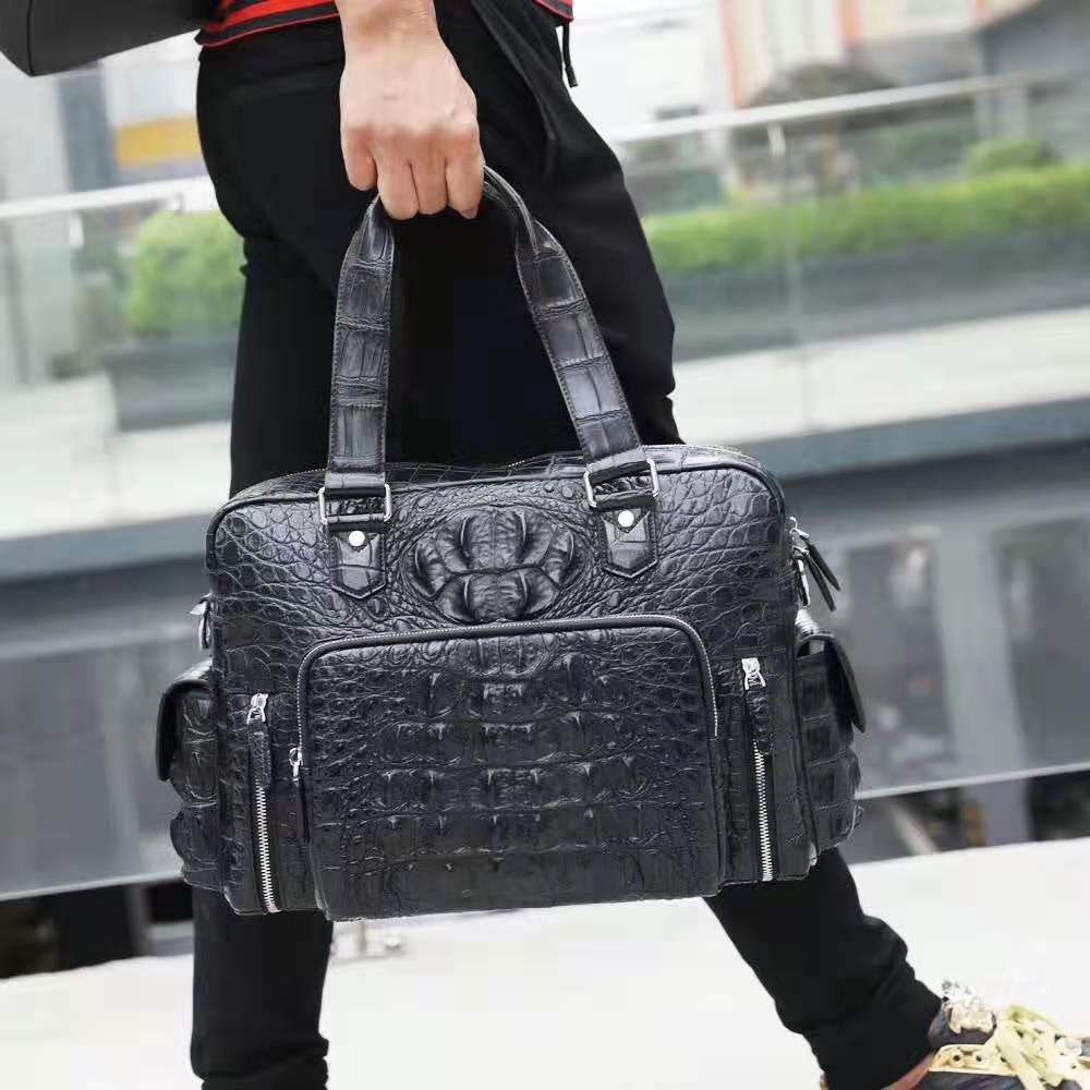 100% Genuine/Real Crocodile Skin Men Bag Leisure Travel Fashion Style Men Tote Handbag Big Size Crocodile Skin & Silver Metal