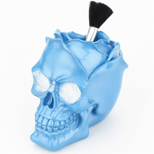 Halloween 3D Skull Head Rose flower storage box female dressing table makeup brush finishing storage pen holder Resin