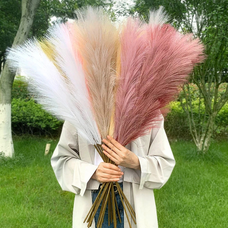 5Pcs 100cm Artificial Pampas Grass Bouquet DIY Vase New Year Holiday Wedding Party Home Decoration Plant Simulation Flower Reed