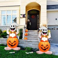 Behogar Cute Inflatable Air Blow Pumpkin Ghost with LED Light for Halloween Indoor Outdoor Garden Yard Decoration EU Plug 1.2m
