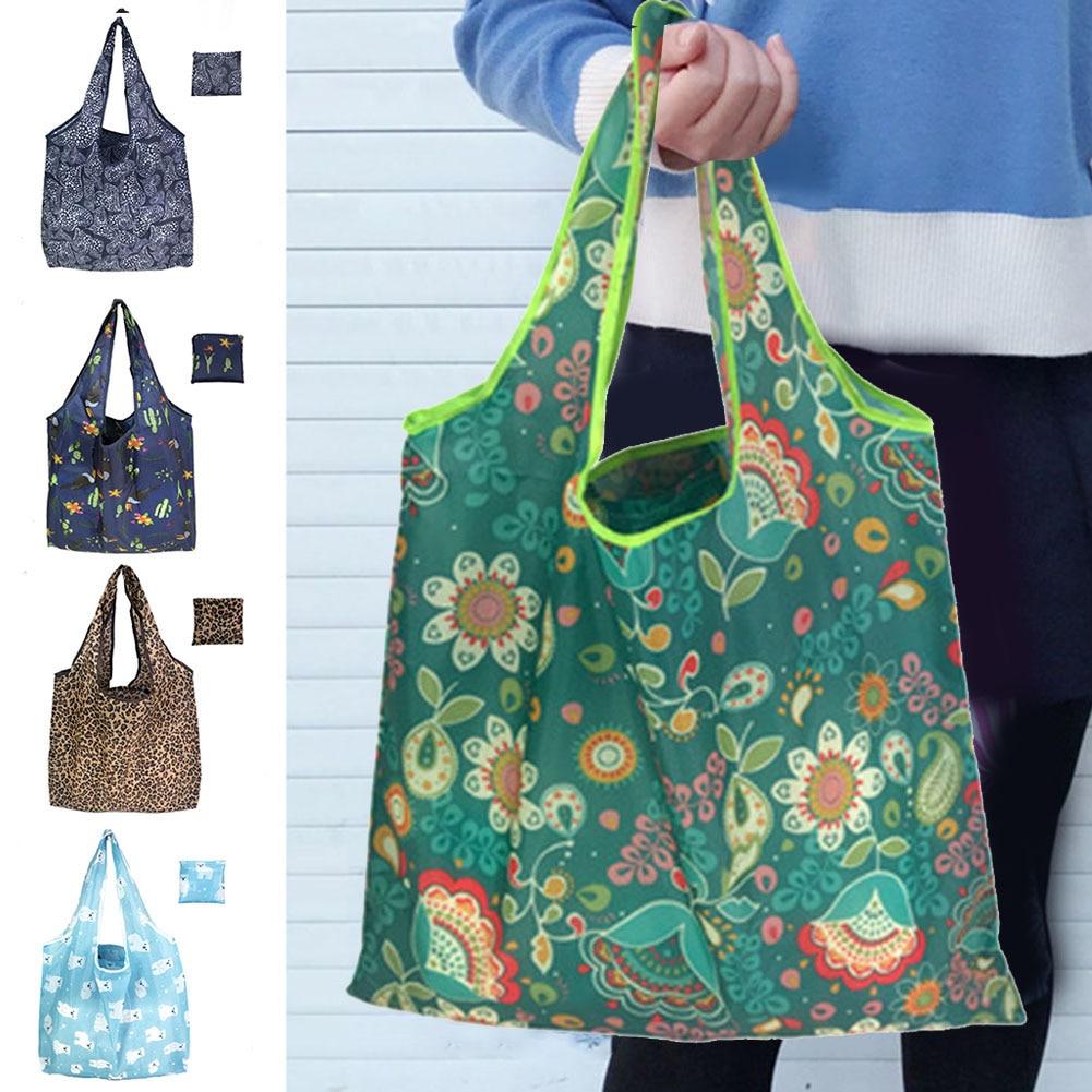 Fashion Women Printed Shopping Bag Foldable Handbag Storage Pouch Reusable Shoulder Bag 2019 New Women Bag Bolsos Mujer