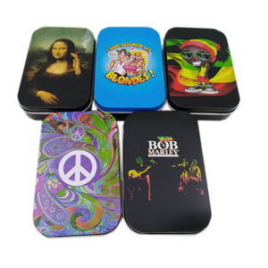 Funny Portable Tin Plate Cigarette Box Tobacco Humidor Rolling Paper Box 20pcs Capacity Case Holder Smoking Gadgets For Man Gift