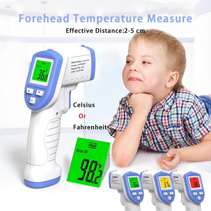 IR Infrared Digita No Contact Forehead Thermometer Temperature Detector High Precision Infrared Color Alarm Adult Body Fever Chi