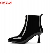 CDAXILAN new to women's short boots genuine cow patent leather pointed toe  front zipper martin boots ankle boots autumn winter цена в Москве и Питере