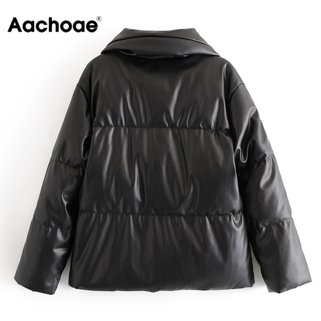 Women PU Leather Parkas Fashion High Street Solid Faxu Leather Coats Elegant Winter Thick Cotton Jackets Loose Outerwear 6