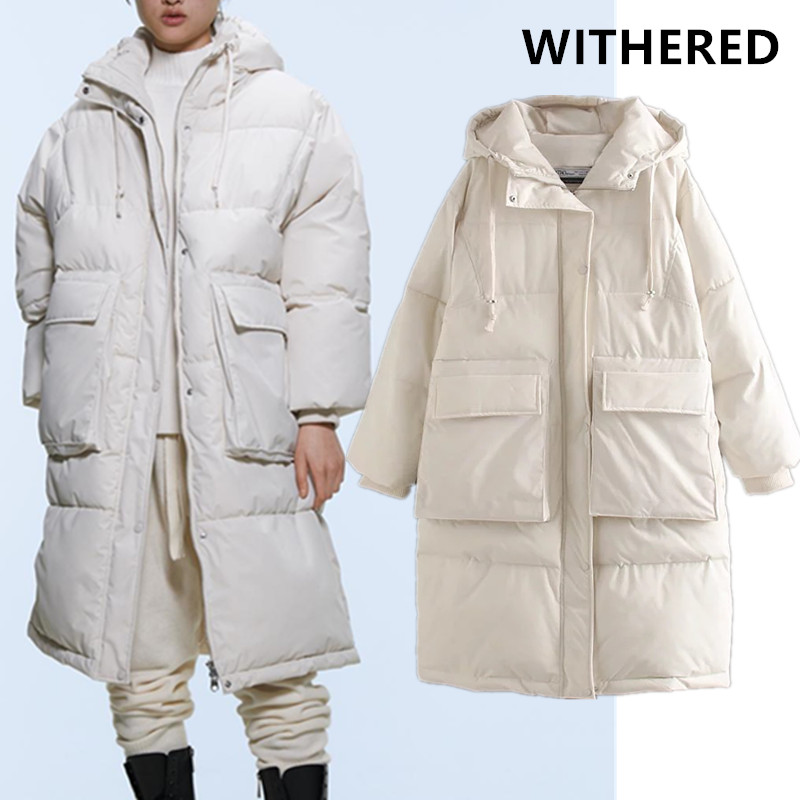 Withered winter overcoat women england vintage high street solid pockets fake Spacesuit thick warm bread parka long coat women