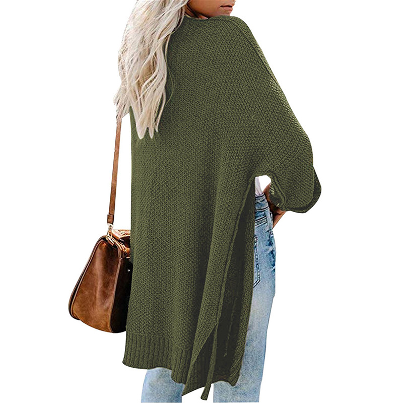 2xl Roll Sleeve Knitted Long Cardigan Women For Autumn 2019 Black Ladies Fall Cardigans Women Jumpers Sweater Women For Winter 2