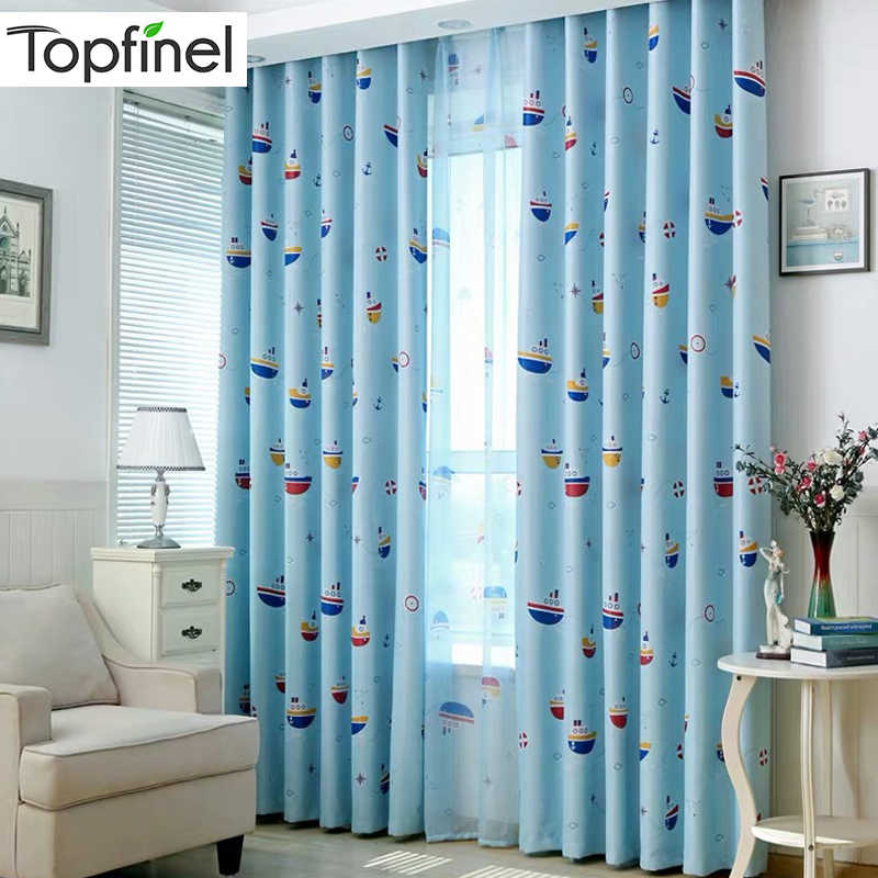 Topfinel Blue Boat Blackout Curtains for Living Room Bedroom Kids Room Window Treatment Curtains Drapes Home Decor Ready Made