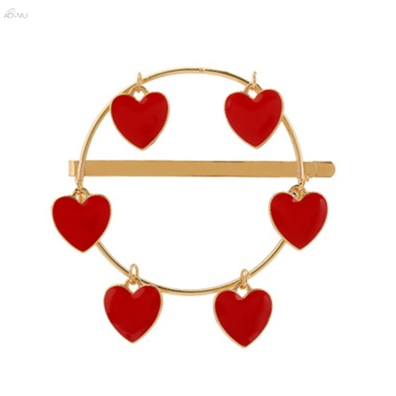 1PC Vintage Red Heart Pendant Enamel Metal Gold Color Hair Clips Women Fashion Geometric Round Hairpins Hair Accessories