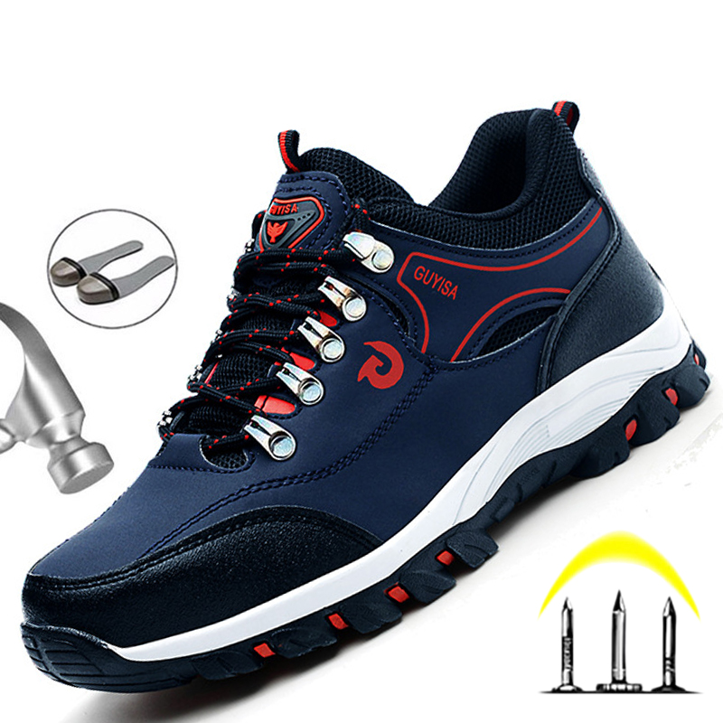 Men Breathable Work Sneakers Steel Toe Cap Work Safety Shoes For Men Safety Boots Anti Puncture Indestructible Work Shoes Male