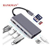 Hombre sin rango tipo C a Gigabit RJ45 compatible con HDMI USB-C 3,0 SD TF lector de tarjetas Hub para MacBook Samsung Dex TV Nintendo