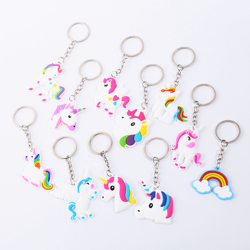 11pcs/set Unicorn Party Rubber Bracelet Keychain Decorations For Kids Favors Colorful Unicorn Party Supplies Birthday Party
